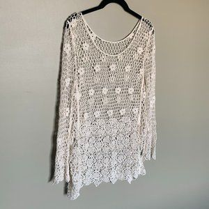 Cream crochet bell sleeve floral tunic top large